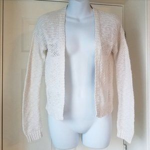 Cherokee Girl's Cut Out Ivory Cardigan Sweater L
